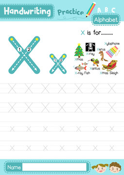 Letter X uppercase and lowercase tracing practice worksheet A4