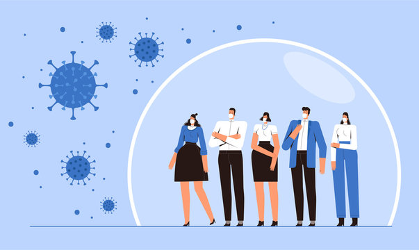 Group of people is standing in a protective bubble. Young men and women in medical masks are protected from the 2019-nCoV flying coronavirus. The concept of the fight against the new virus COVID-2019