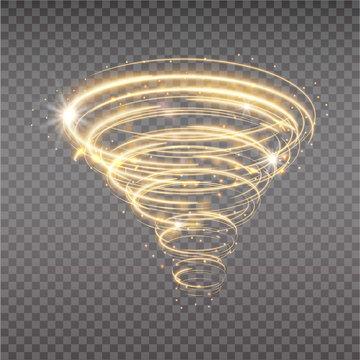 Golden tornado, swirling storm cone of stardust sparkles on transparent background. Golden spiral with light effect. Magical stardust tornado, light hurricane.
