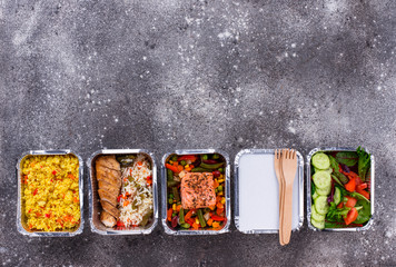 Aluminium Prints Food Food delivery concept. Lunch in container