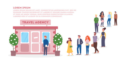 Vector illustration of big queue of people standing towards a travel agency