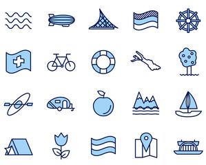 Bodensee Urlaub Süddeutschland Vector Icon Illustration Set