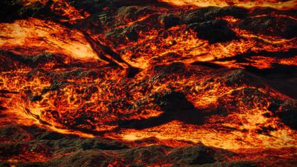 Fotorollo Rotglühen lava field, fiery magma flow, molten rock landscape