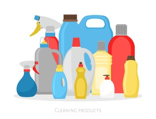Cleaning products bottles. Isolated plastic packing set, detergent cleaner housekeeping objects vector illustration on white background