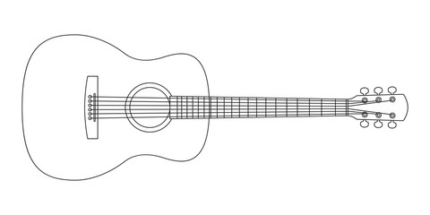 Acoustic guitar outline silhouette. Music instrument line icon. Vector illustration.