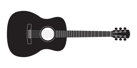 Acoustic guitar black silhouette. Music instrument icon. Vector illustration. Fotomurales