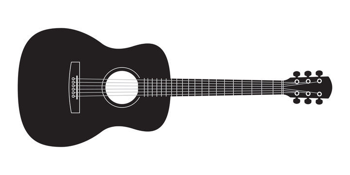 Acoustic guitar black silhouette. Music instrument icon. Vector illustration.