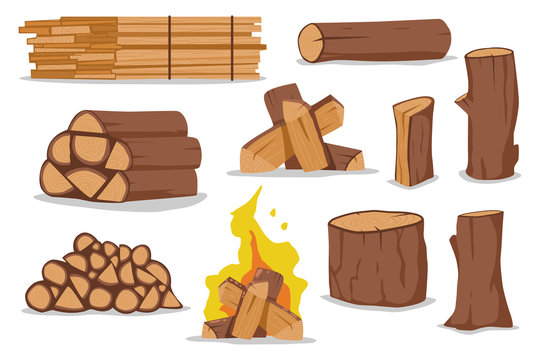 Log and firewood vector cartoon set isolated on white background.
