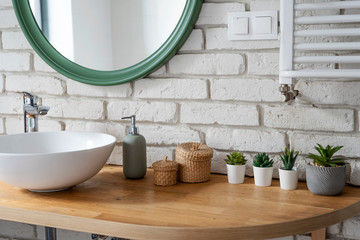 Interior of bathroom with modern design. White bricks,design basin and wooden counter with cactus....