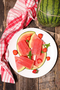 homemade watermelon ice cream popsicles in plate