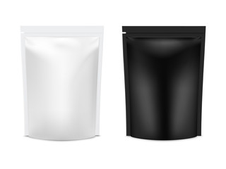 Realistic vector mock up plastic Black and white Food Stand Up Flexible Pouch Sachet set.