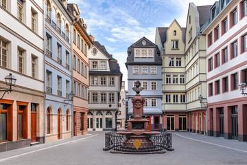 Foto auf Leinwand Altes Gebaude Neue Altstadt Frankfurt Wiederaufbau