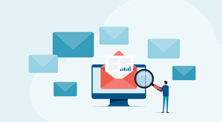 flat business people read and research email concept