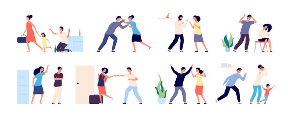 Family conflict. Angry, unhappy people. Couple divorce or quarrel, husband and wife domestic violence. Scolding abuse vector illustration. Shouting husband and wife, boyfriend and girlfriend shouting Wall mural