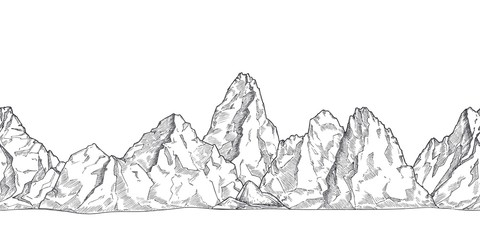 Mountain range. Outline nature drawing, pencil sketch rocky peaks panorama. Art graphics beautiful landscape vector seamless background. Rocky mountain and adventure landscape, rock peak illustration Fotobehang