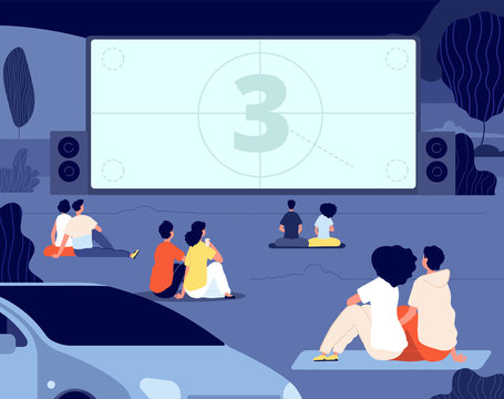 Open air cinema. Outdoor relax, car movie night. Friends rest backyard with snacks, screen. Dating couples watch movie vector illustration. Cinema movie film, outdoor entertainment