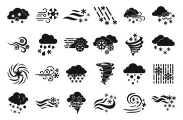 Blizzard icons set. Simple set of blizzard vector icons for web design on white background