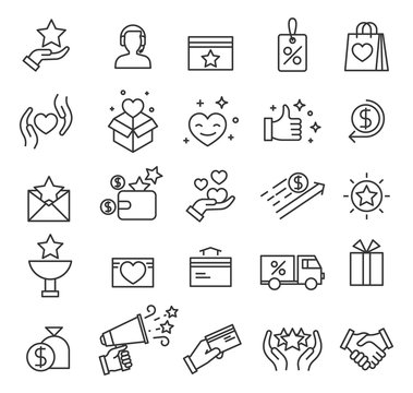 Loyalty program icons. Exclusive discounts, customer incentive benefits and presents points. Shopping website interface vector line symbols. Loyalty and discount program, bonus promotion illustration