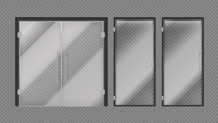 Realistic glass doors. Shopping mall, stores or office building entrance. Exterior interior modern elements with metal door handles vector illustration. Entrance glass exterior door, office and shop
