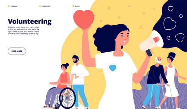 Volunteering page. Charity community, organization volunteer groups. People together activity, social help. Nonprofit helping vector concept. Charity volunteer, volunteering organization illustration