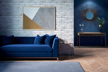 The interior of a modern living room with a dark blue sofa next to a brick wall on which a horizontal poster hangs, in the background you can see a mirror above the cabinet with flowers. 3d render