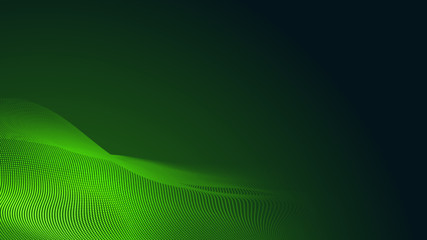 Printed kitchen splashbacks Abstract wave Dot green wave light screen gradient texture dark background. Abstract technology big data digital background. 3d rendering.