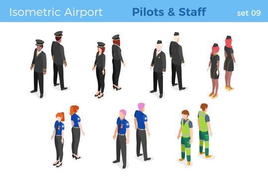 Airplane pilots stewardess air hostess Airport Staff Security isometric people vector illustration set