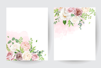 Fototapeta Floral pastel watercolor style. Blooming spring floral cards. obraz