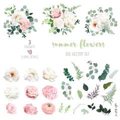 Fototapeta Blush pink rose and sage greenery, ivory peony, hydrangea, ranunculus flowers obraz