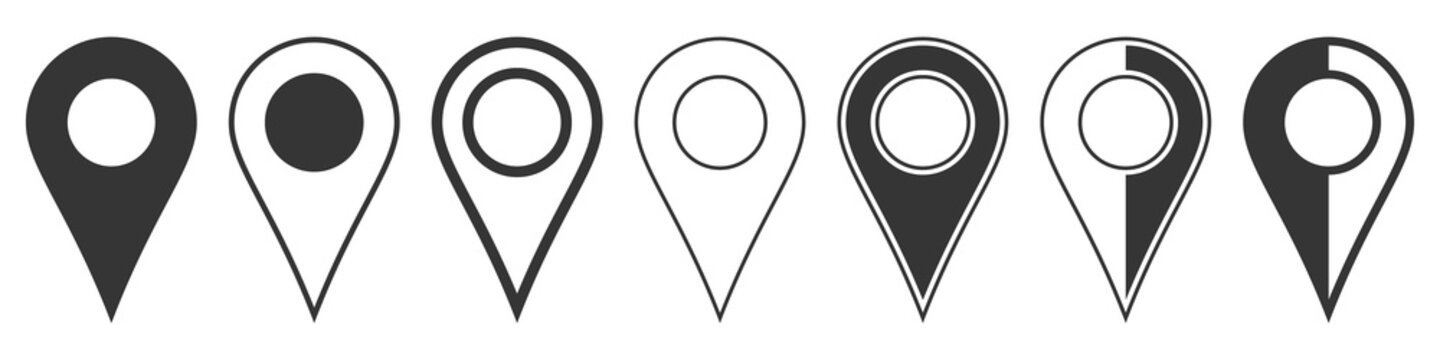 Location pin icons. Navigation icon. Map pointer