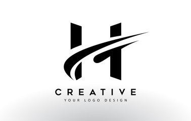 Creative H Letter Logo Design with Swoosh Icon Vector.
