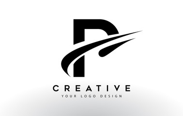 Creative P Letter Logo Design with Swoosh Icon Vector.