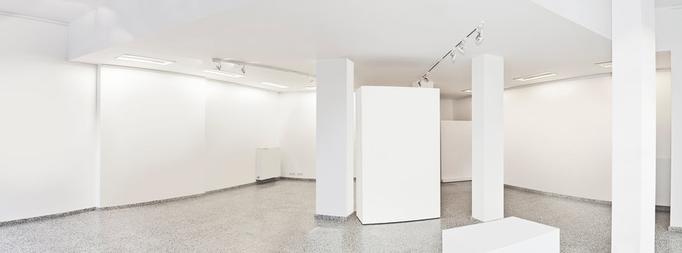 Panoramic view of a Exhibition gallery with museum style