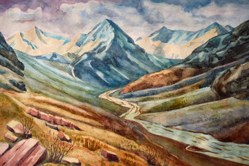 Watercolor illustration. Landscape of a mountain valley sunset, sunrise. Art painting.