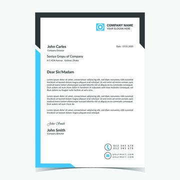 Professional unique creative business letterhead template vector a4 size print ready illustrator for company