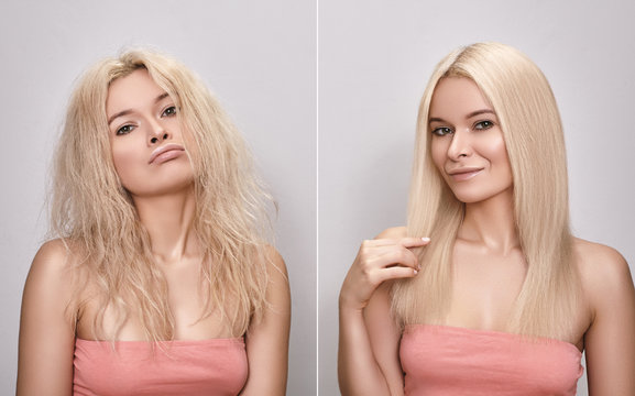 Woman before and after Hairstyle. Funny girl with pout face and happy face. Keratin treatment for gloss straight hair