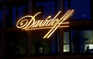 Logo of tobacco products manufacturer Davidoff is seen in Basel