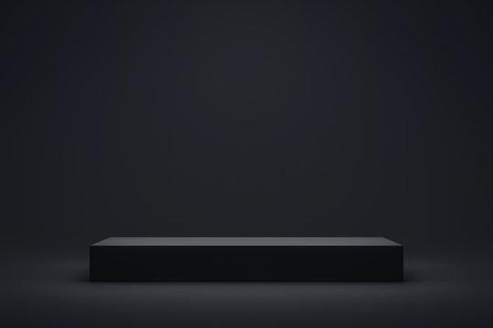 Black podium or pedestal display on dark background with long platform. Blank product shelf standing backdrop. 3D rendering.