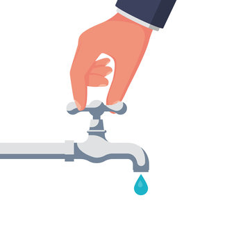 A person opens or closes a water tap. Clean, eco-friendly drinking water. Hand and crane. Save water icon. Vector illustration flat design. Isolated on white background. Care for saving resources.
