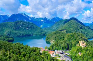 Alpsee and Schwansee at neuschwanstein and hohenschwangau castle - lake near Fuessen in beautiful mountain scenery of Allgaeu, Bavaria, Germany