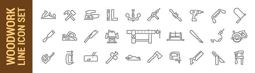 Woodworking vector isolated line icon set. Carpenter tools