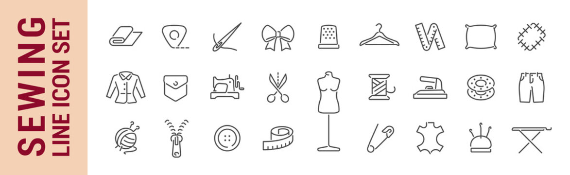 Sewing vector isolated line icon set. Sewing tools