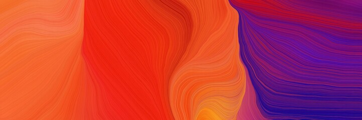 Fotorollo Koralle landscape banner with waves. smooth swirl waves background illustration with orange red, indigo and dark moderate pink color