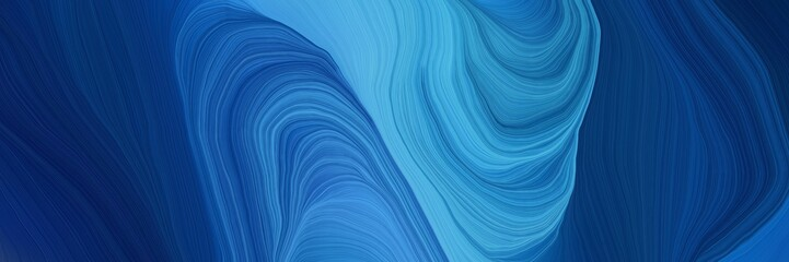 Poster Fractal waves landscape banner with waves. contemporary waves illustration with midnight blue, corn flower blue and steel blue color