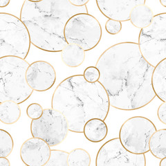 Seamless abstract geometric stone pattern with gold lines and gray marble circles on white background