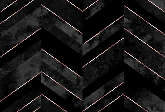 Seamless abstract zigzag geometric pattern with gray watercolor and rose gold lines on black background