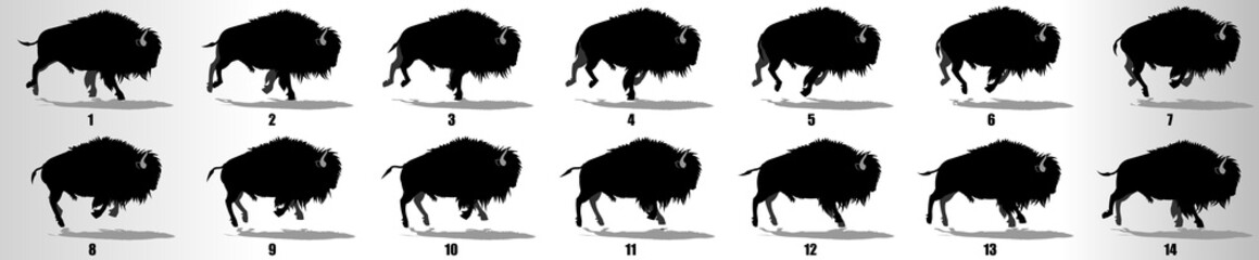 Bison Run cycle animation frames silhouette, loop animation sequence sprite sheet