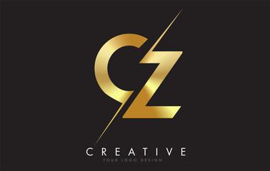 Fototapeta CZ C Z Golden Letter Logo Design with a Creative Cut. obraz