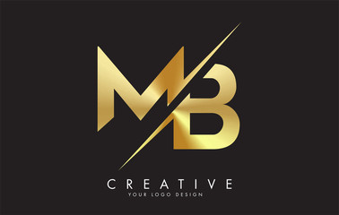 MB M B Golden Letter Logo Design with a Creative Cut.
