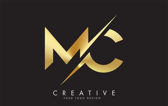 MC M C Golden Letter Logo Design with a Creative Cut.
